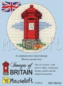 Mouseloft Red Pillar Box Images of Britain cross stitch kit